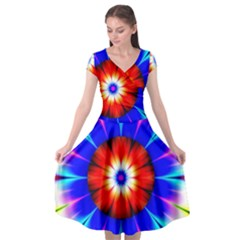 Abstract Digital Art Artwork Colorful Cap Sleeve Wrap Front Dress