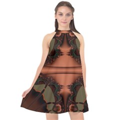 Art Fractal Artwork Creative Halter Neckline Chiffon Dress