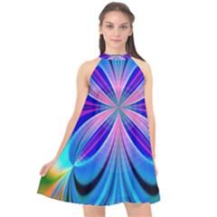 Abstract Art Design Digital Art Halter Neckline Chiffon Dress