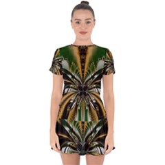 Abstract Art Artwork Fractal Design Pattern Art Drop Hem Mini Chiffon Dress