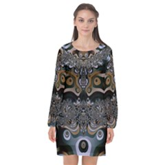 Fractal Art Artwork Design Long Sleeve Chiffon Shift Dress