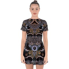Fractal Art Artwork Design Drop Hem Mini Chiffon Dress