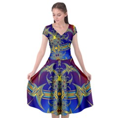Abstract Art Design Digital Art Cap Sleeve Wrap Front Dress