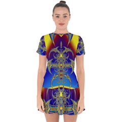 Abstract Art Design Digital Art Drop Hem Mini Chiffon Dress