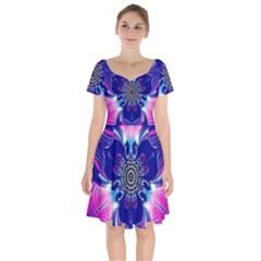 Artwork Art Fractal Flower Design Short Sleeve Bardot Dress by Pakrebo