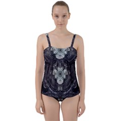 Fractal Art Artwork Design Pattern Twist Front Tankini Set by Pakrebo