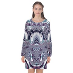 Fractal Art Artwork Design Long Sleeve Chiffon Shift Dress  by Pakrebo