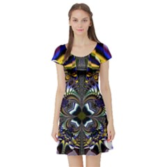 Abstract Art Artwork Fractal Design Short Sleeve Skater Dress