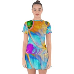 Artwork Digital Art Fractal Colors Drop Hem Mini Chiffon Dress by Pakrebo