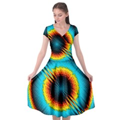 Art Artwork Fractal Digital Art Geometric Cap Sleeve Wrap Front Dress by Pakrebo