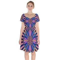 Artwork Fractal Geometrical Design Short Sleeve Bardot Dress