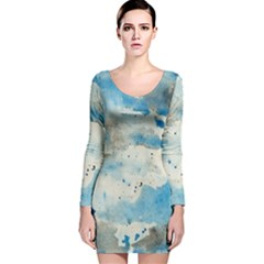 Watercolor Splatter Long Sleeve Velvet Bodycon Dress by blkstudio