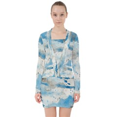 Watercolor Splatter V Neck Bodycon Long Sleeve Dress by blkstudio