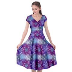 Snow Blue Purple Tulip Cap Sleeve Wrap Front Dress