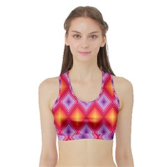 Texture Surface Orange Pink Sports Bra With Border by Mariart