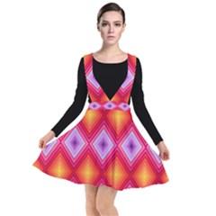 Texture Surface Orange Pink Plunge Pinafore Dress