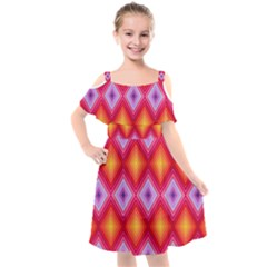 Texture Surface Orange Pink Kids  Cut Out Shoulders Chiffon Dress by Mariart