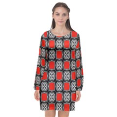 Pattern Square Long Sleeve Chiffon Shift Dress