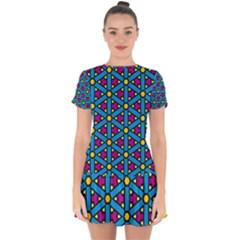 Lines Blue Seamless Drop Hem Mini Chiffon Dress