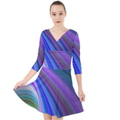 Background Abstract Curves Quarter Sleeve Front Wrap Dress by Bajindul
