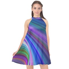 Background Abstract Curves Halter Neckline Chiffon Dress