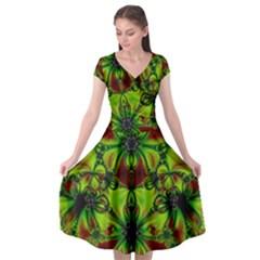 Abstract Art Fractal Artwork Cap Sleeve Wrap Front Dress