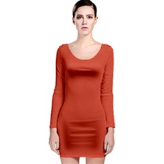 Tomato Red Long Sleeve Bodycon Dress by blkstudio