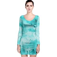 Watercolor Splatter Aqua Long Sleeve Bodycon Dress by blkstudio