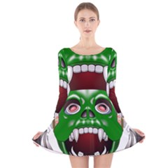 Monster Mask Alien Horror Devil Long Sleeve Velvet Skater Dress by Bejoart