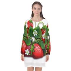 Strawberries Fruits Fruit Red Long Sleeve Chiffon Shift Dress  by Bejoart