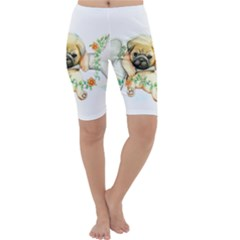 Pug Watercolor Cute Animal Dog Cropped Leggings  by Bejoart