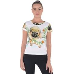 Pug Watercolor Cute Animal Dog Short Sleeve Sports Top  by Bejoart