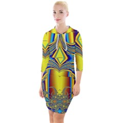 Abstract Art Design Digital Art Quarter Sleeve Hood Bodycon Dress