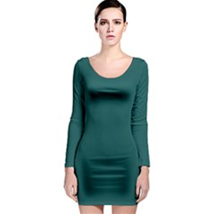 Teal Green Long Sleeve Bodycon Dress by blkstudio