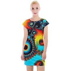 Artwork Fractal Digital Art Cap Sleeve Bodycon Dress