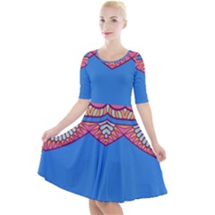 Shapes On A Blue Background                         Quarter Sleeve A Line Dress by LalyLauraFLM