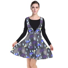 Rain And Umbrellas Plunge Pinafore Dress by bloomingvinedesign
