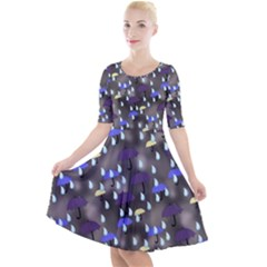 Rain And Umbrellas Quarter Sleeve A Line Dress by bloomingvinedesign