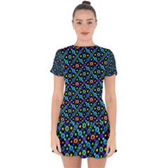 Have Fun Multicolored Text Pattern Drop Hem Mini Chiffon Dress by dflcprintsclothing