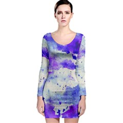 Watercolor Splatter Purple Long Sleeve Bodycon Dress by blkstudio