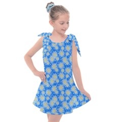 Hydrangea Blue Glitter Round Kids  Tie Up Tunic Dress by Jojostore
