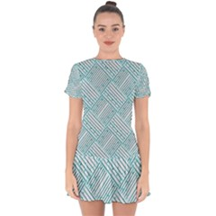 Wood Texture Diagonal Pastel Blue Drop Hem Mini Chiffon Dress by Mariart