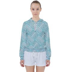 Wood Texture Diagonal Pastel Blue Women s Tie Up Sweat by Mariart