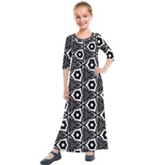 Black White Pattern Kids  Quarter Sleeve Maxi Dress by Bajindul
