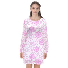 Spring Flowers Plant Long Sleeve Chiffon Shift Dress