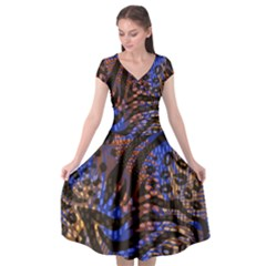 Modern Abstract Animal Print Cap Sleeve Wrap Front Dress by tarastyle