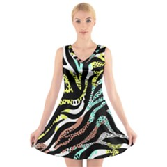 Modern Abstract Animal Print V Neck Sleeveless Dress by tarastyle