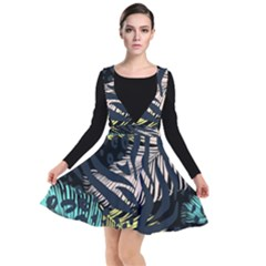 Modern Abstract Animal Print Plunge Pinafore Dress by tarastyle