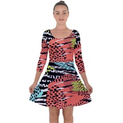 Modern Abstract Animal Print Quarter Sleeve Skater Dress by tarastyle