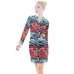 Modern Abstract Animal Print Button Long Sleeve Dress by tarastyle